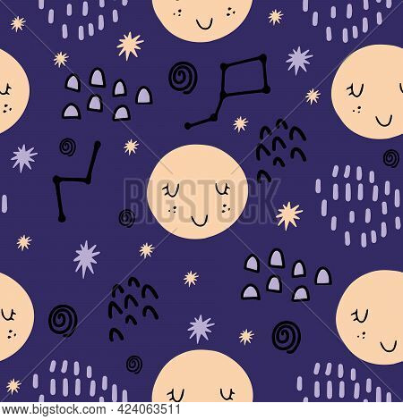 Seamless Pattern With Cute Moon, Stars, Constellations, Stars For Decorating Baby Fabrics, Rooms, Di