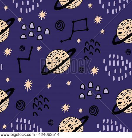 Seamless Pattern With Cute Jupiter, Stars, Constellations For Decorating Baby Fabrics, Rooms, Dishes