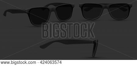 Sunglasses Woman, Web Site Page And Mobile App Design Element. Summer Sunglasses, Realistic Mockup.