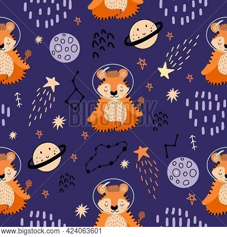 Red Tiger Meditates In Space. Seamless Pattern With Planets, Tigers,constellations, Stars For Decora