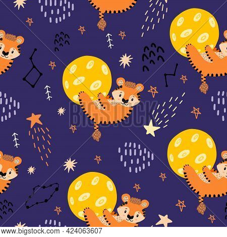 Red Tiger Hugged The Moon. Seamless Pattern With Planets, Tigers, Constellations,stars For Decoratio