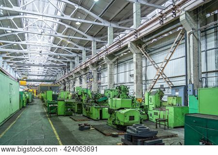 Many Machine Tools For Metalworking In Large Workshop Of Plant. Heavy Industry. Industrial Interior.