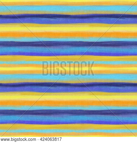 Seamless Pattern With  Horizontal Stripes Of Yellow  And Red Color.   Hand-drawn Illustration.