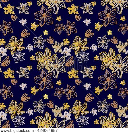Abstract Flowers Vector Seamless Pattern With Drawing Yellow, Gold, Silver, Purple . Floral Watercol