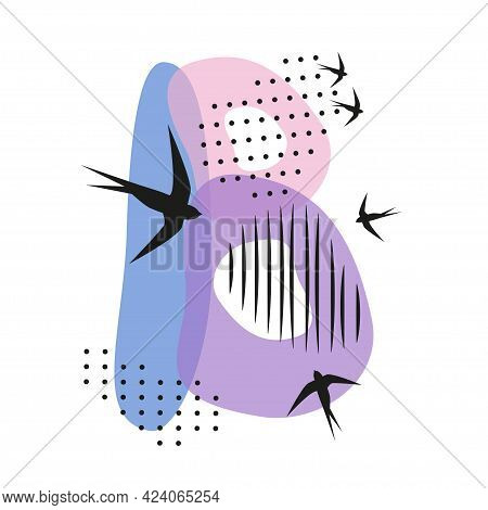 Minimalistic Pattern An Oriental Style In Form Of Letter B. Flock Of Swallows Flies. Abstract Object