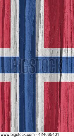 The Flag Of Norway On A Dry Wooden Surface, Cracked With Age. It Seems To Flutter In The Wind. Mobil