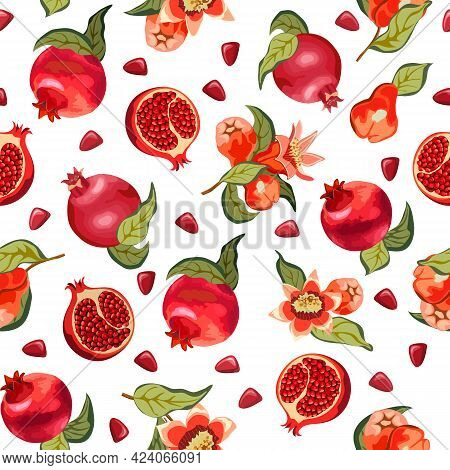 Blooming Pomegranate And Fruits In A Pattern.colored Vector Pattern With Blooming Pomegranate And Fr