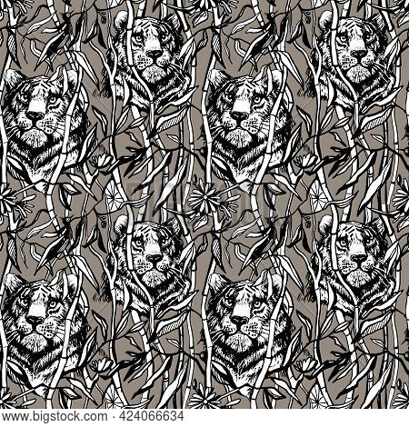 Tiger And Lion Seamless Pattern. Exotic Jungle Brown Background With Drawn Tropical Bamboo Leaves An
