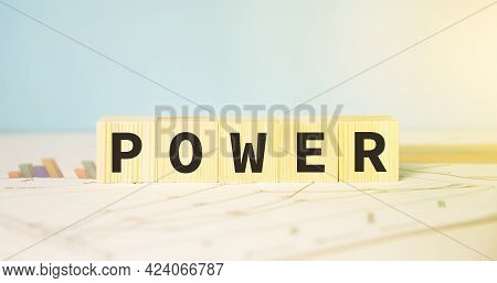 Words Concept, Power Word Cube On Financial Reports,english Language Learning Concept.
