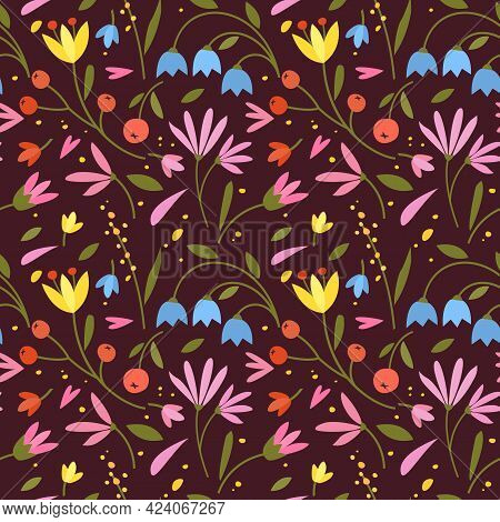 Cute Seamless Pattern With Colorful Small Flowers. Small Flowers On Dark Background