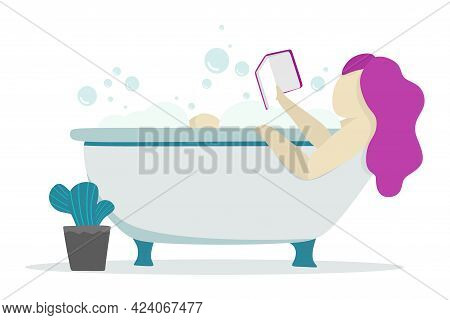 A Young Girl In The Bath Reads A Book, Relax And Anti-stress. For Posters, Websites, Mobile Apps, Ma