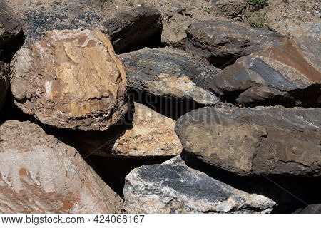 Big Stone With Different Textures In The Mountain