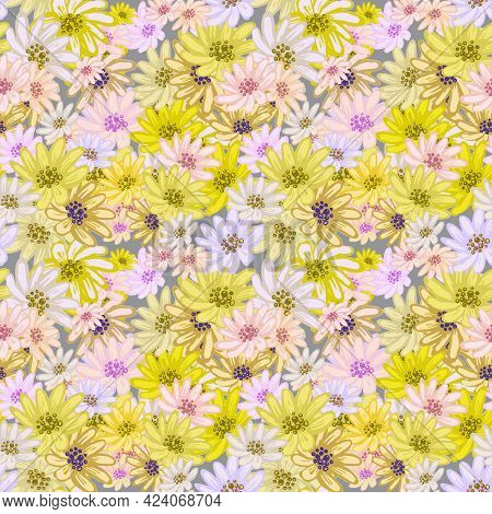 Seamless Pattern With Cute Pink, Yellow, White Chamomiles. Hand Drawn Vector Illustration On Light A