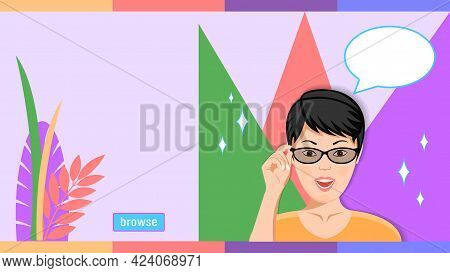 Woman In Glasses Amazement Emotion Cartoon Flat Style
