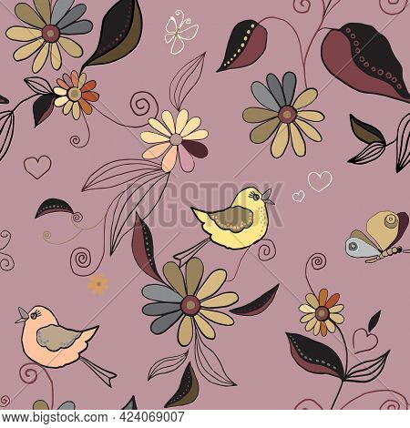 Seamless Pattern With Birds, Butterflies, Anemones, Wild Flowers And Pastel Pink Colors. Small Chamo