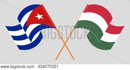 Crossed And Waving Flags Of Cuba And Hungary