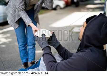 Homeless Food Help. Human Poverty. Poor Man