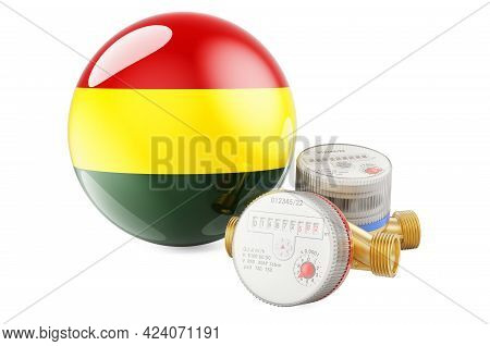 Water Consumption In Bolivia. Water Meters With Bolivian Flag. 3d Rendering Isolated On White Backgr