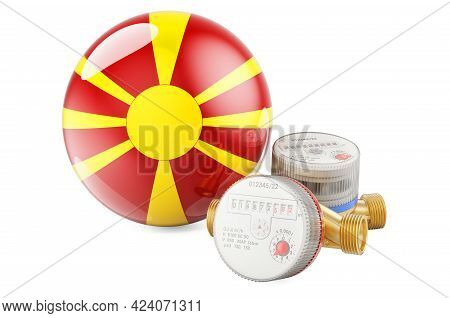 Water Consumption In Macedonia. Water Meters With Macedonian Flag. 3d Rendering Isolated On White Ba