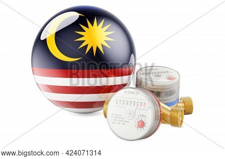 Water Consumption In Malaysia. Water Meters With Malaysian Flag. 3d Rendering Isolated On White Back