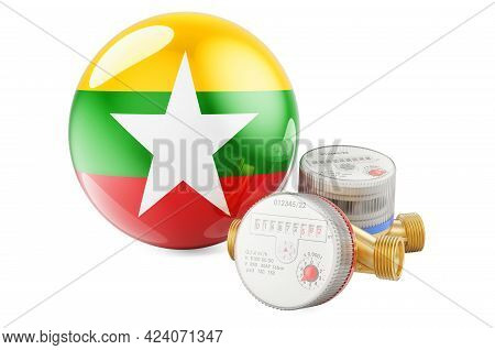 Water Consumption In Myanmar. Water Meters With Myanmar Flag. 3d Rendering Isolated On White Backgro
