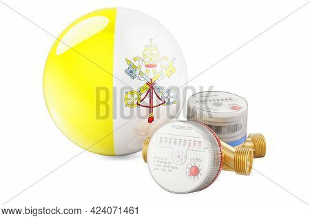 Water Consumption In Vatican. Water Meters With Vatican Flag. 3d Rendering Isolated On White Backgro