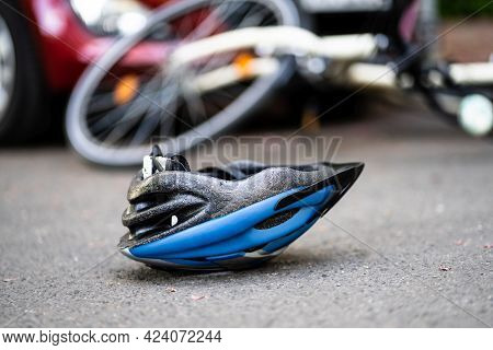 Car And Cyclist Accident And Injury. Bicycle Crash