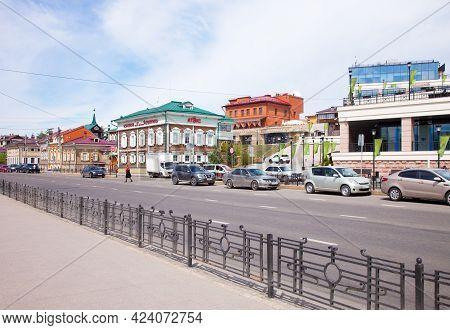 Irkutsk, Russia - May 23, 2019: Street In The Irkutsk Sloboda Area (130 Quarter), Russia.