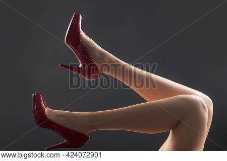 Mistress Sexy Woman. Fetish Feet. Seductive Girl Foot Legs.
