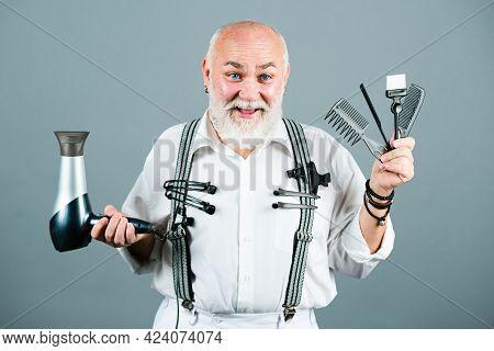Barber With Barber Equipment Tools. Vintage Barbershop, Shaving. Hairdresser Old Man.