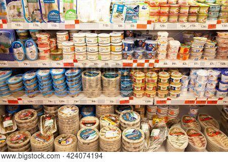 Kaliningrad, Russia - November 18, 2020: Seafood On Shelves Of Local Russian Supermarket.