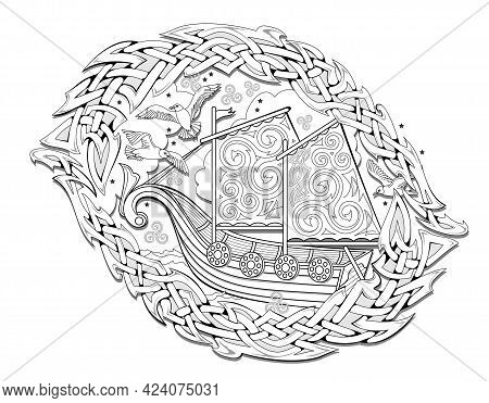 Black And White Page For Kids Coloring Book. Illustration Of Ancient Viking Sailboat And Celtic Knot