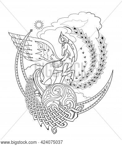 Drawing Of Fairy Tale Horse With Ethnic Decoration. Ancient Legend Illustration. Black And White Pag