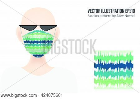 Modern Style Mask With Abstract Lines Pattern Presented By Mannequin For Displaying Clothes Along Wi