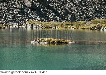 Rock With Mosses And Grasses In Turquoise Mountain Lake. Scenic Sunny Landscape With Azure Glacial L