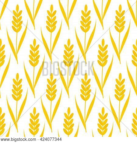 Pattern With Yellow Ears. Vector Illustration Isolated On White Background. For The Use Of Fabrics,