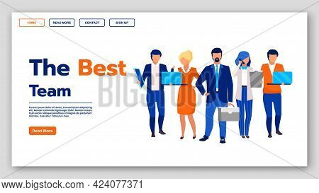 Best Team Landing Page Vector Template. Business Company Website Interface Idea With Flat Illustrati