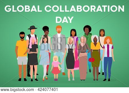 Global Collaboration Day Poster Vector Template. Unity In Diversity. Brochure, Cover, Booklet Page C