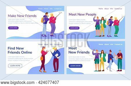Teenager Culture Landing Page Vector Template Set. Social Network Website Interface Idea With Flat I