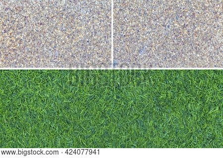 Brown Polished Granite Floor Tiles And Fresh Green Artificial Turf Pattern And Background Seamless