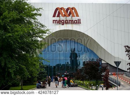 Bucharest, Romania - June 08, 2021: Mega Mall, One Of The Largest Indoor Shopping Center In Buchares