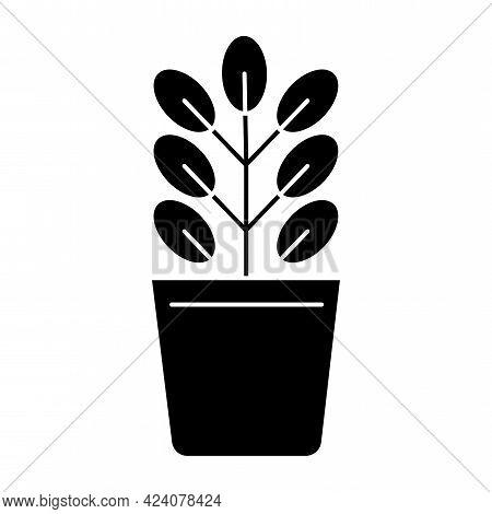 Black Silhouette Flowerpot Pot On White Background. Ecology Concept. Decoration Floral. Vector Illus