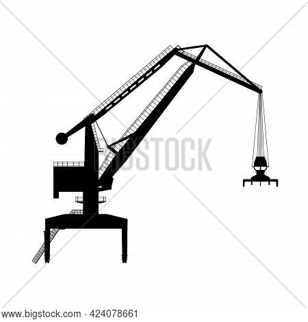 Silhouette Of A Crane Isolated On A White Background. Vector Illustration