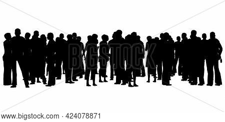 Silhouette Of A Crowd Of People Isolated On A White Background. Vector Illustration