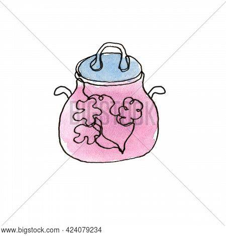 Saucepan. Pot. Single Line. Kitchen Utensils, Cooking Utensils. The Illustration Is Hand-drawn In Li