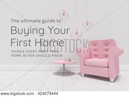 Composition of home buying text in grey, with pink chair and table, on grey. property and finance guide design template concept digitally generated image.