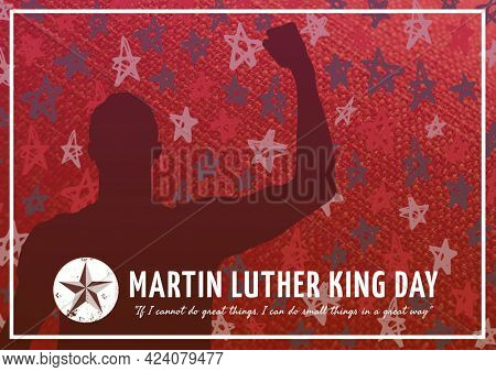 Composition of martin luther king day text with man's silhouette and star pattern on red background. american flag, patriotism and human rights equality concept digitally generated image.