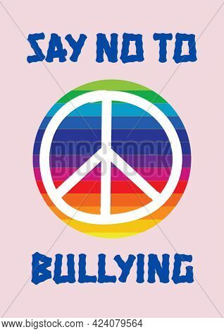 Composition of anti bullying text with peace symbol and rainbow circle on pink background. childhood, bullying and social issues concept digitally generated image.