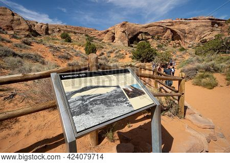 Moab, Utah - May 13, 2021: Information Storyboard Sign Explaining Details About Landscape Arch In Ar