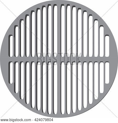 Round Grill Grate Made Of Metal For Picnics. Vector Illustration.